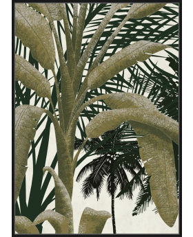 FRAME GREEN/WHITE 'PALM-COCONUT'100x140H
