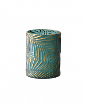 Glass Cylind Hurricane Green/Gold Palm Cam