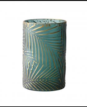 Glass Cylind Hurricane Green/Gold Palm Cam, Acm16Fanc0114
