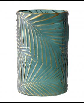 Glass Cylind.Hurricane Green/Gold'Palm'