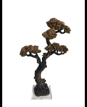 PINE & CYPRESS TREE IN RESIN BRONZE/GOLD