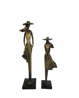 S/2 ASS.RESIN LADY WITH HAT  36h/45h