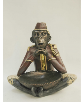 MONKEY WITH BOWL IN RESIN  40h