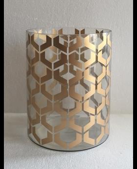 GLASS CYL.HURRICANE GOLD 'HEXA' D20x25h