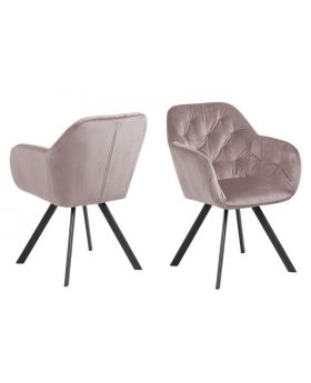 LOLA DINING CHAIR DUSTY ROSE/MATT BLACK