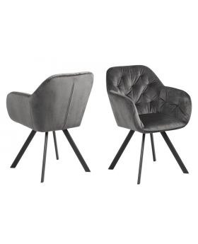 LOLA DINING CHAIR DARK GREY/MATT BLACK