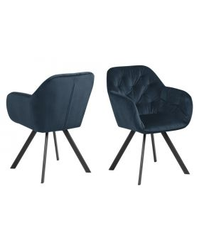 LOLA DINING CHAIR NAVY BLUE/MATT BLACK