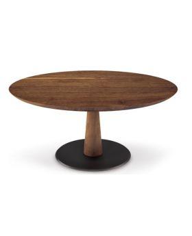 DIAMANTE DINING TABLE W/WALNUT/BLACKBASE