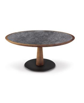 DIAMANTE DININGTABLE ROUND,WALNUT/CERAMI