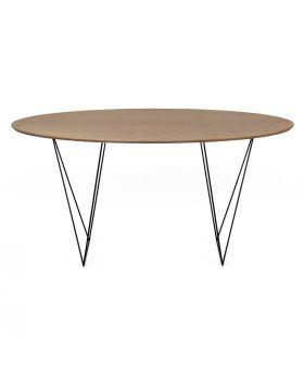 ROW DINIG TABLE WALNUTTOP/BLACK TRESTLES