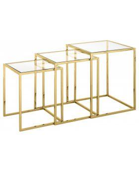 GOLDEN NICOLA NEST 3 AUX TABLES,GOLD