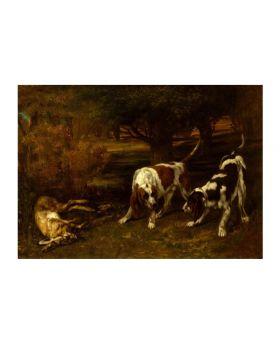 Gustavecourbet-Huntingdogs Deadhare,1857 134791Xl (4 Panels)