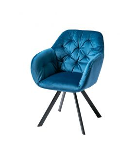 Lola Dining Chair Navy Blue/Matt Black