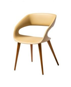 Shape Dining Chairs, White W/Walnut Feet