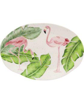 Plate Flamingo Holidays Oval 40Cm