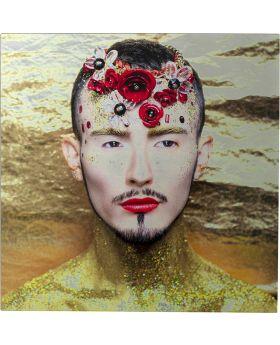 Picture Glas Metallic Flower Man,Yellow Kare