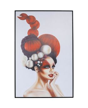 Picture Frame Art Lady In Red 120X80Cm