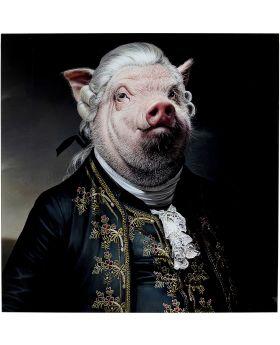 Picture Glass Gentleman Pig Multicolour