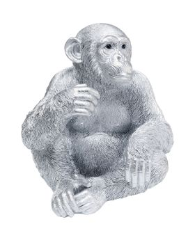 Deco Figurine Baby Ape Silver 53