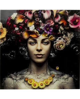 Picture Glass Flower Art Lady 120X120Cm