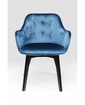 CHAIR WITH ARMREST LADY VELVET STITCHBLUE