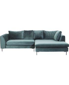 Corner Sofa Black Gianna Velvet Green Right