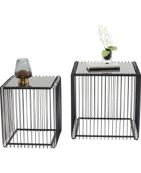 Side Table Wire Square Black (2/Set) 45x45cm